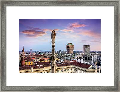 Rooftops Of Milan From The Duomo  Framed Print
