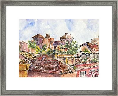 Rooftops Of Rome Framed Print by Albert Fendig