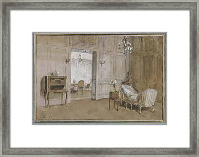Room In The Chateau De Breau, Near Paris Framed Print by La Chaise