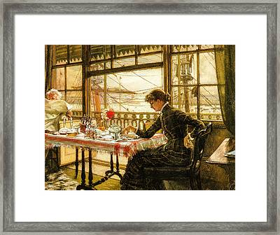 Room Overlooking The Harbour 1876  Framed Print by Jacques Joseph Tissot