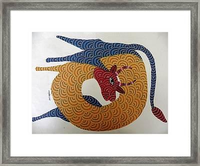 rOOndeer Framed Print by Nankushiya Jangarh Singh Shyam