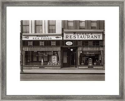 Rooney's Restaurant Wilkes Barre Pa 1940s Framed Print