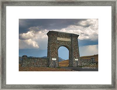 Framed Print featuring the photograph Roosevelt Arch -- Welcome To Yellowstone National Park by Charles Kozierok