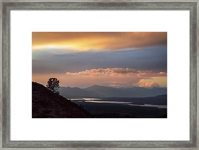 Roosevelt Lake At Sunset Framed Print by Dave Dilli