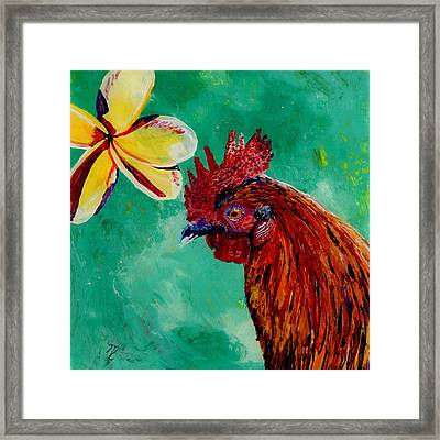 Framed Print featuring the painting Rooster And Plumeria by Marionette Taboniar