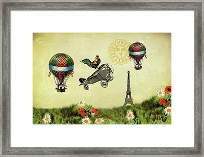 Rooster Flying High Framed Print