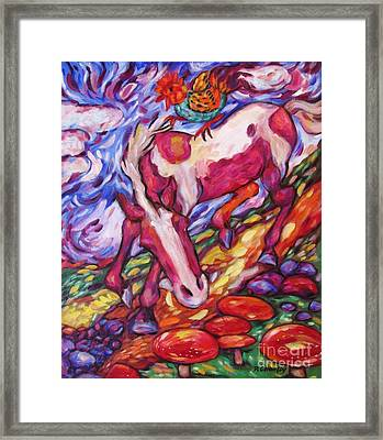 Rooster Horse And Toadstools Framed Print