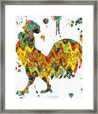 Rooster Paint Splatter Framed Print by Dan Sproul