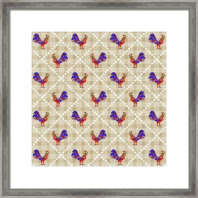 Rooster Pattern Framed Print
