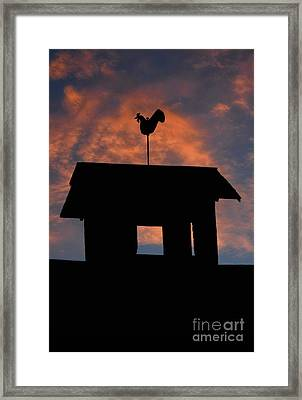 Rooster Weather Vane Silhouette Framed Print