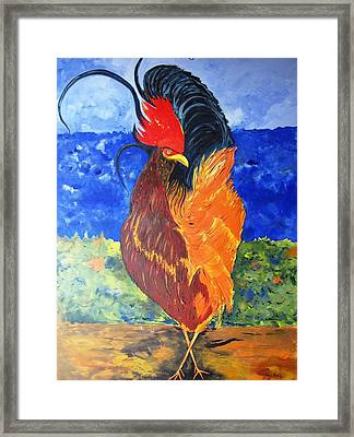 Framed Print featuring the painting Rooster With Attitude by Gary Smith