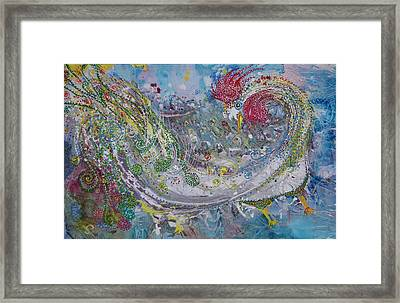 Framed Print featuring the painting Rooster With The Peacock Tail by Sima Amid Wewetzer