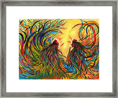Roosters Frienship Framed Print by Fanny Diaz