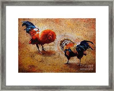 Roosters  Scene Framed Print