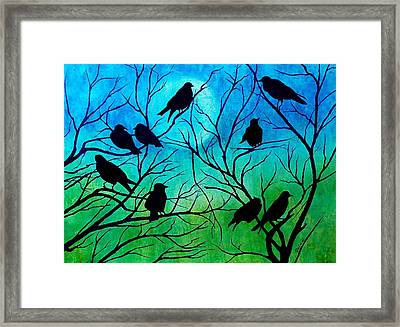 Framed Print featuring the painting Roosting Birds by Susan DeLain