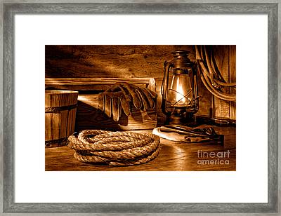 Rope And Tools In A Barn - Sepia Framed Print by Olivier Le Queinec