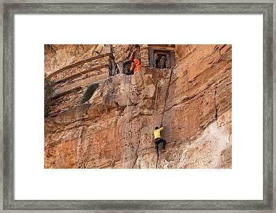 Rope Climb At Debre Damo Monastery Framed Print