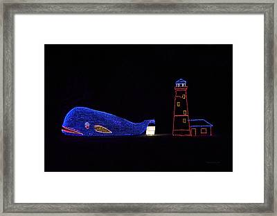 Rope Light Art Whale And Light House Framed Print by Thomas Woolworth
