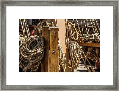 Ropes Aboard A Tall Ship Framed Print by Dale Kincaid