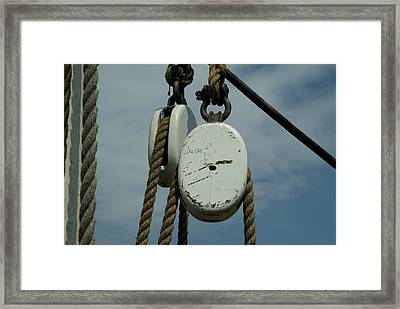 Ropes And Pulleys Against A Blue Sky Framed Print by Todd Gipstein