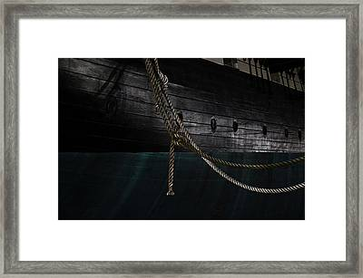 Ropes On The Uss Constellation Navy Ship Framed Print by Marianna Mills