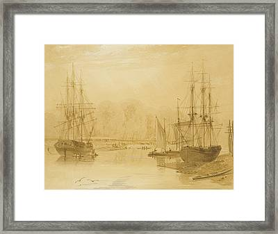 Ropewalk At Wapping, West Indiaman Union On Left, 1826  Framed Print by Thomas Leeson the Elder Rowbotham