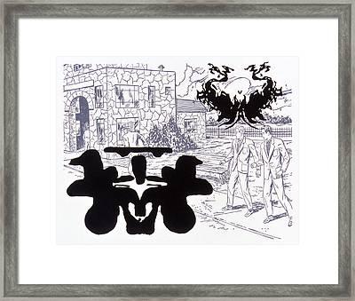 Rorschach 3 Angel Of Death Framed Print by Karl Frey