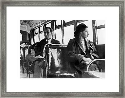 Rosa Parks On The Bus Framed Print