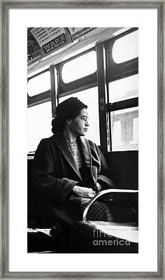 Rosa Parks Sitting On A Bus In Montgomery, Alabama Framed Print