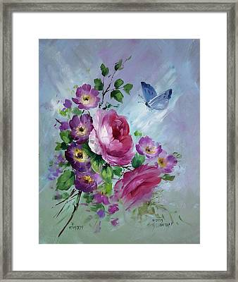 Rose And Butterfly Framed Print by David Jansen