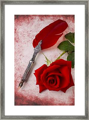 Rose And Feather Pen Framed Print