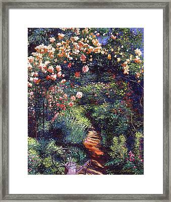 Rose Arbor Pathway Framed Print by David Lloyd Glover