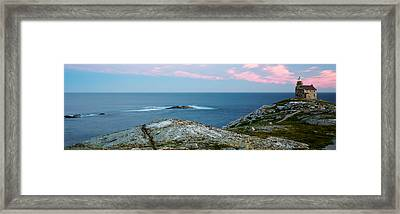 Rose Blanche Lighthouse At Coast Framed Print