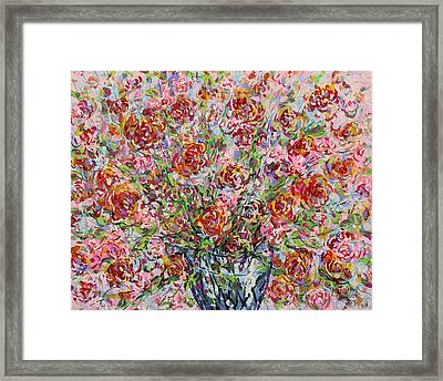 Rose Bouquet In Glass Vase Framed Print