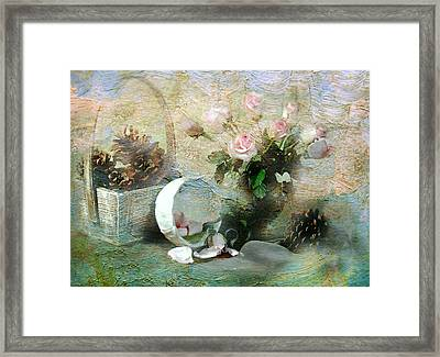 Rose Buds And Cones Framed Print by Diana Angstadt