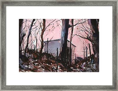 Framed Print featuring the painting Rose Calm Before The Snows Matted Glassed Framed by Charlie Spear