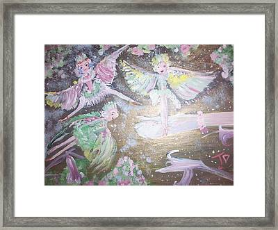 Framed Print featuring the painting Rose Fairies by Judith Desrosiers