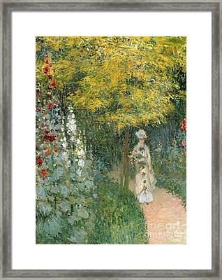 Rose Garden Framed Print by Claude Monet