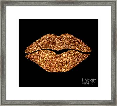 Rose Gold Texture Kiss, Lipstick On Pouty Lips, Fashion Art Framed Print by Tina Lavoie