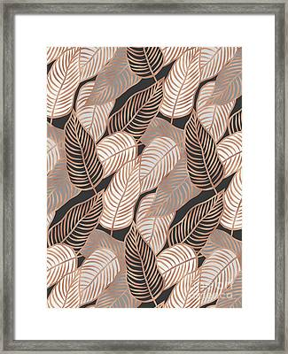 Rose Gold Jungle Leaves Framed Print