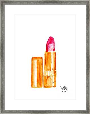 Rose Gold Lipstick Framed Print by Sweeping Girl