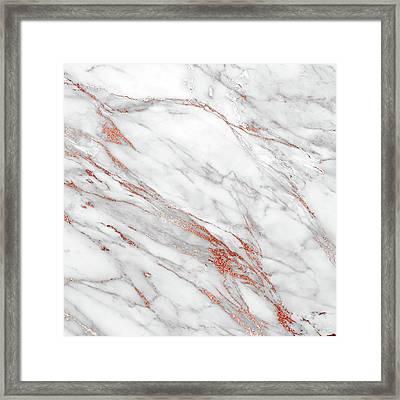Rose Gold Marble Framed Print