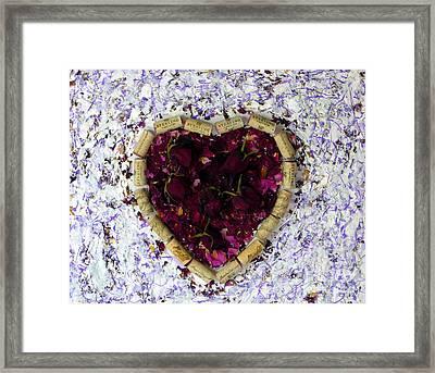 Rose Heart Cork Collage Framed Print