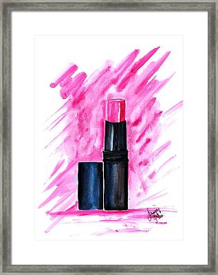 Rose Hot Pink Lipstick Framed Print by Sweeping Girl