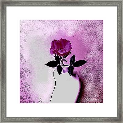 Rose In A Crooked Vase Ll Framed Print by Marsha Heiken