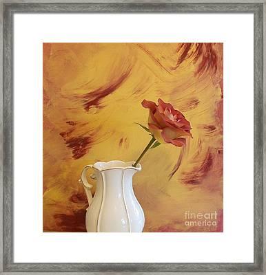Rose In A Pitcher Framed Print by Marsha Heiken