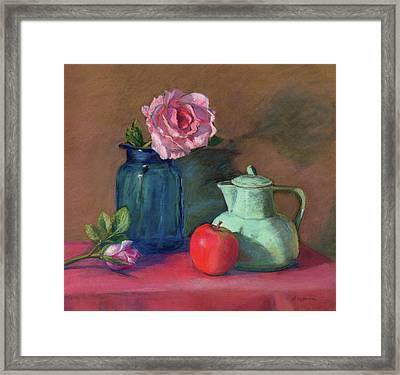 Rose In Blue Jar Framed Print by Vikki Bouffard