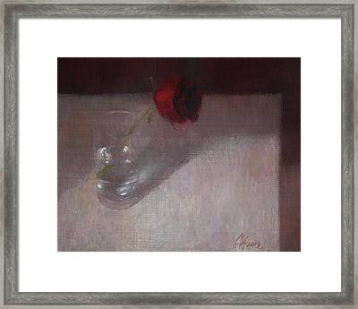 Rose In Glass Framed Print by Attila Meszlenyi