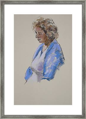Rose In Her Blue Shawl Framed Print by Mary McInnis