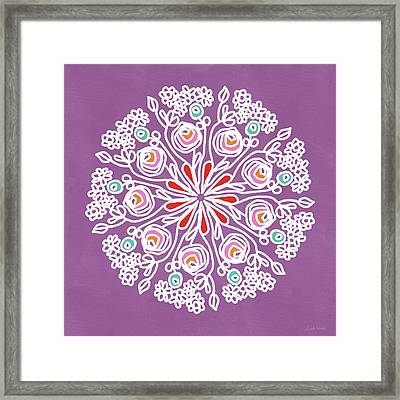 Framed Print featuring the mixed media Rose Mandala 1- Art By Linda Woods by Linda Woods